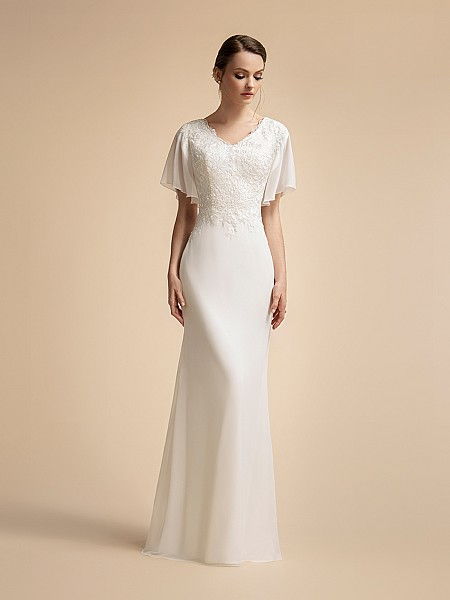 Modern Chiffon Temple Ready Mermaid Wedding Dress with Lace Bodice and Flutter Sleeves Moonlight M2025