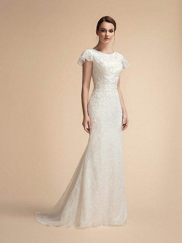 Elegant Temple Ready Lace Mermaid Wedding Dress with Ruffle Short Sleeves and High Neckline Moonlight M2026