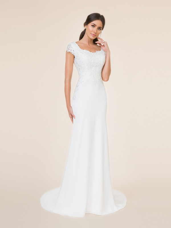 Ivory mermaid modest wedding dress with sweeetheart neckline,  cap sleeves, and lace bodice