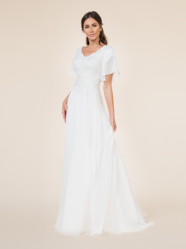 Chiffon A-line modest wedding dress with wide v-neck and flutter sleeves with beaded sash