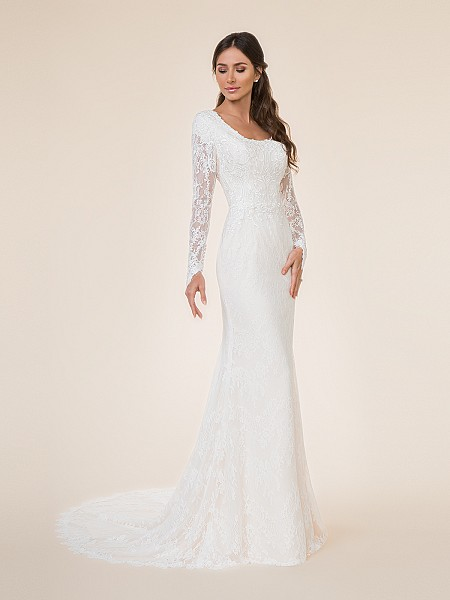 Lace long sleeved fit and flare modest wedding dress with scoop neckline and buttons at wrist