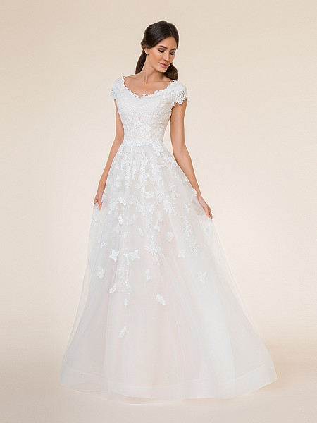 Full A-line tulle modest wedding dress with wide v-neck neckline and lace cap sleeves, sequins