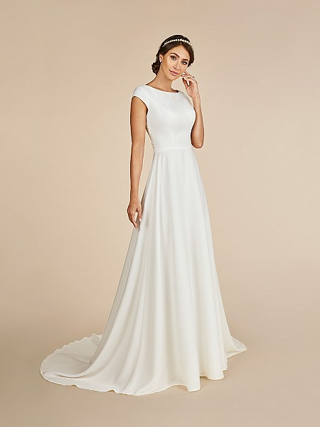 Ivory temple ready crepe A-line modest wedding dress with bateau neckline with cap sleeves