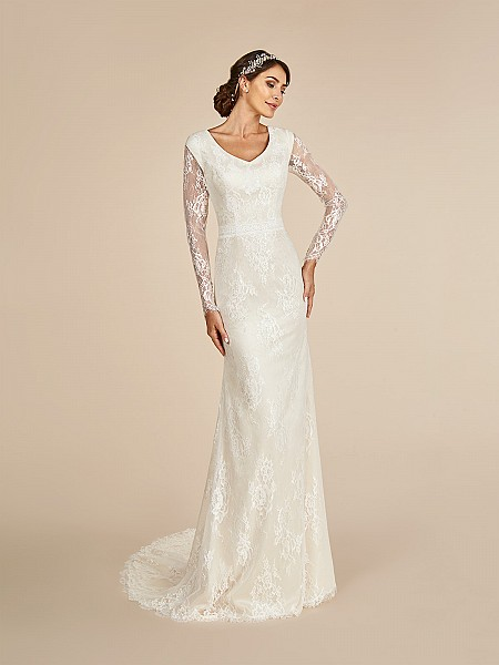 Beautiful Illusion lace long sleeved temple ready wedding dress with lined cap and wide V-neckline