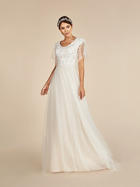Modest A-line soft tulle wedding dress with cascade short sleeves and lace bodice