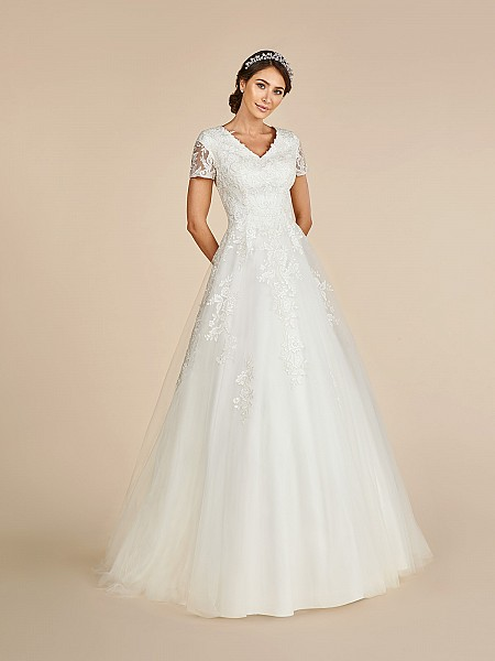 Royal a-line temple ready wedding dress with wide v-neck and lace short sleeves
