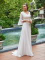 Moonlight Modest M5037 Boho Drop Waist Chiffon A-Line Modest Wedding Gown With Foliage Lace Bodice And 3/4 Bell Sleeves