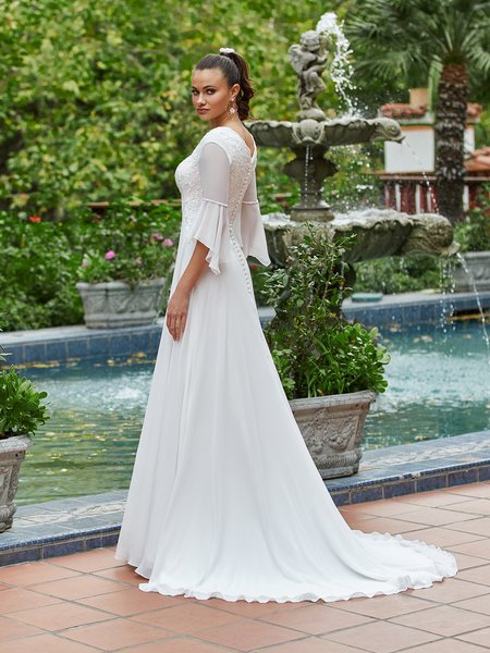 Moonlight Modest M5037 Wide V-Back and Bell Sleeve Modest Bridal Gown With Buttons Along Zipper and Chiffon Sweep Train