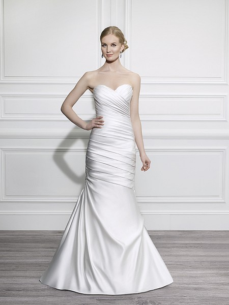 Moonlight Tango T648 sleek strapless elegant satin mermaid wedding dress with sweetheart neckline