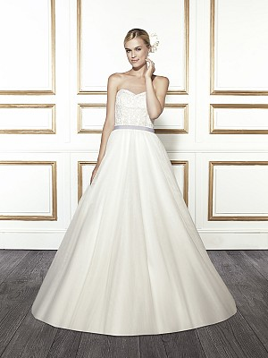 Moonlight Tango T681 strapless elegant lace ball gown wedding dress with sash