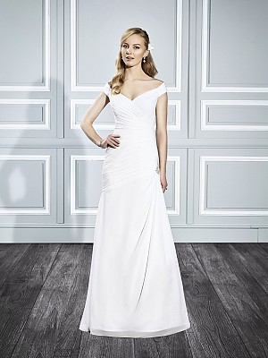 Moonlight Tango T699 chiffon open off the shoulder cap sleeve bridal gown for the curvy bride