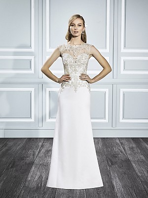 Moonlight Tango T710 sophisticated gold lace bridal dress with a high lace neckline