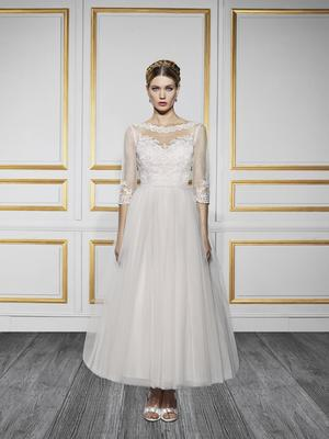 Moonlight Tango T728 couture designer blush tea length lace wedding dress with three quarter lace sleeves