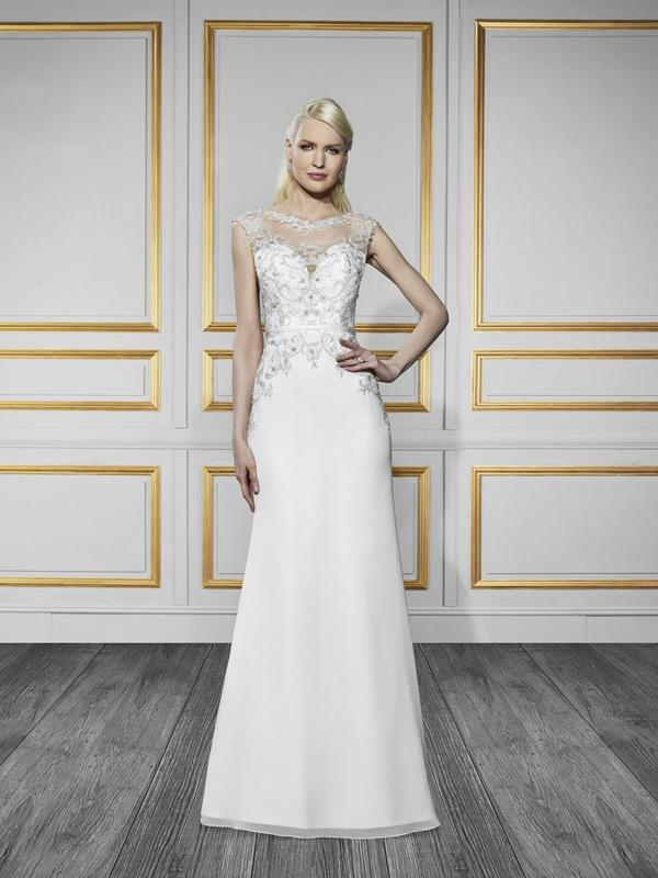 Moonlight Tango T730 sophisticated embroidered high neck wedding dress with a couture satin band for modern brides
