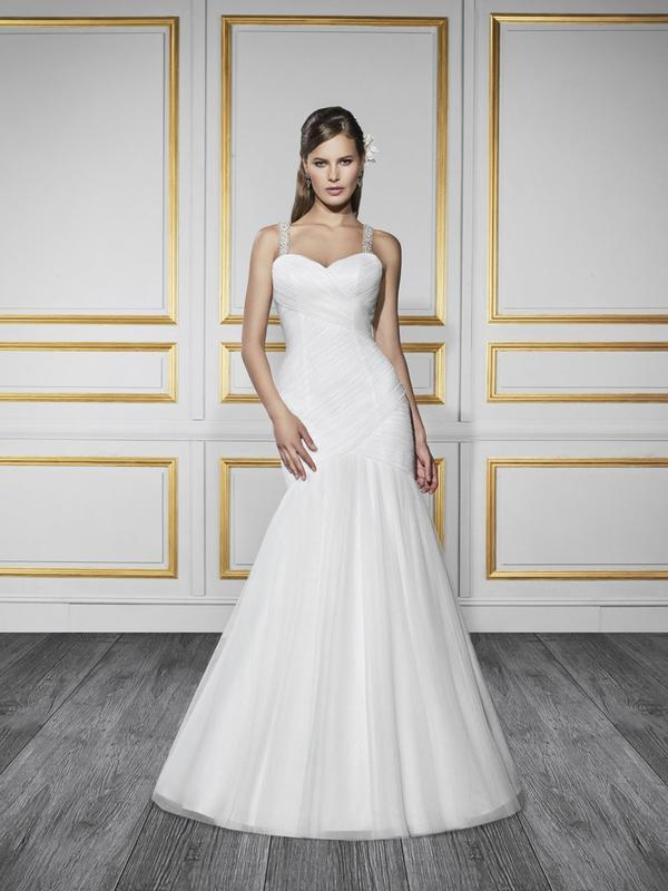 Moonlight Tango T737 soft casual mermaid wedding dress with beaded straps for beach wedding