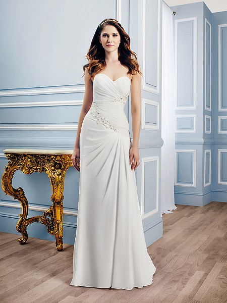 Moonlight Tango T747 curve enhancing chiffon bridal gown perfect for coastal weddings