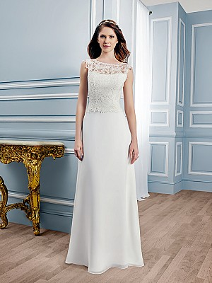 Moonlight Tango T749 elegant lace A-line wedding gown with bateau neckline