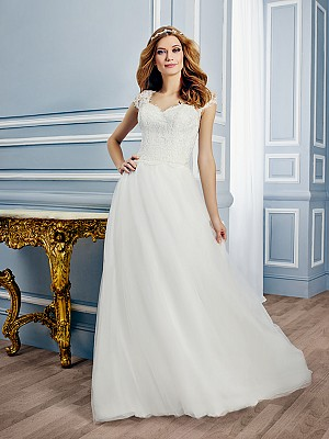 Moonlight Tango T753 sophisticated sweetheart bridal gown with short sleeves