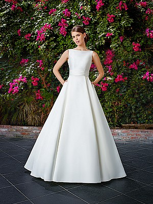 Moonlight Tango T763 chic mikado bridal ball gown with side pockets