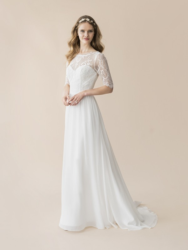 Moonlight Tango T802 Chantilly lace and chiffon A-line bohemian wedding gown with 3/4 sleeves