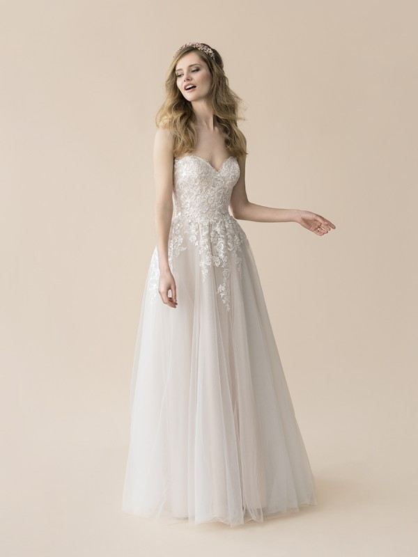 Moonlight Tango T811 casual strapless sweetheart tulle and lace full A-line boho wedding dress