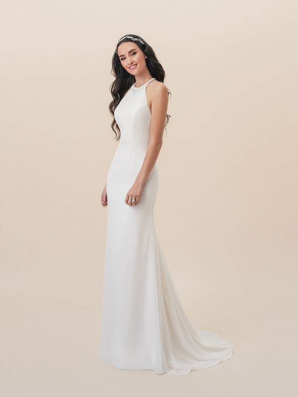 Moonlight Tango T822 casual chiffon mermaid wedding dress with modern halter neck and comfortable stretch lining