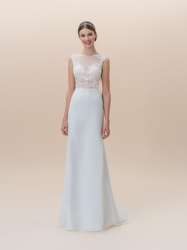 Moonlight Tango T824A sleek crepe back satin mermaid wedding dress with sheer unlined lace bodice