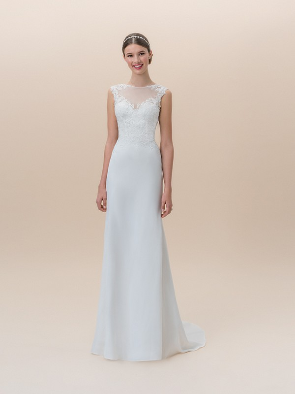 Moonlight Tango T824B crepe satin lace bateau neck fit and flare wedding dress