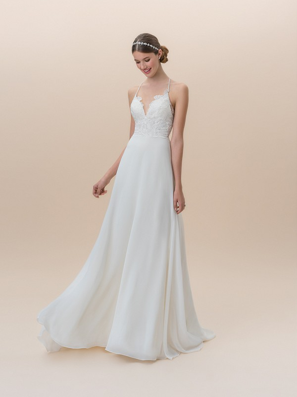 Moonlight Tango T825B casual care-free chiffon wedding dress with lace bodice and spaghetti straps