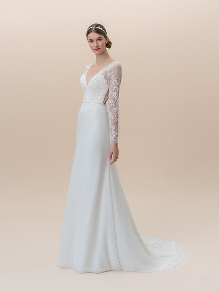 Moonlight Tango T829 chiffon fit and flare deep V-neck wedding dress with long lace sleeves