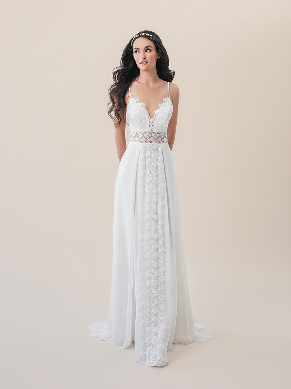 Moonlight Tango T830A boho beach A-line wedding dress with sheer illusion waist and chiffon overlay skirt