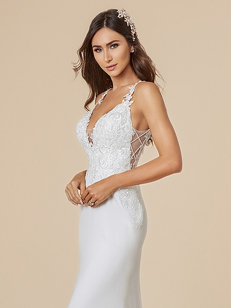 Moonlight Tango T841 ivory wedding gown with deep V-neck and illusion crisscross inset at side bodice
