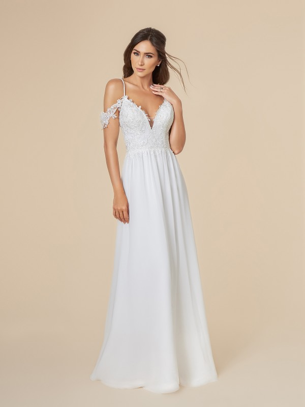 Moonlight Tango T842 chiffon and lattice net deep V-neck A-line bridal gown with swag sleeves in ivory