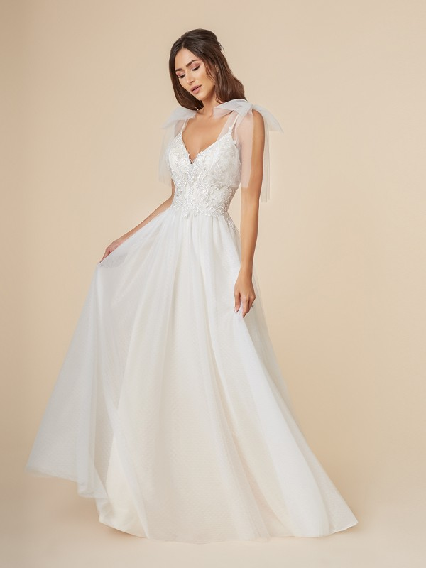 Moonlight Tango T845 romantic A-line wedding gown with V-neck with straps and tulle bows at the shoulders