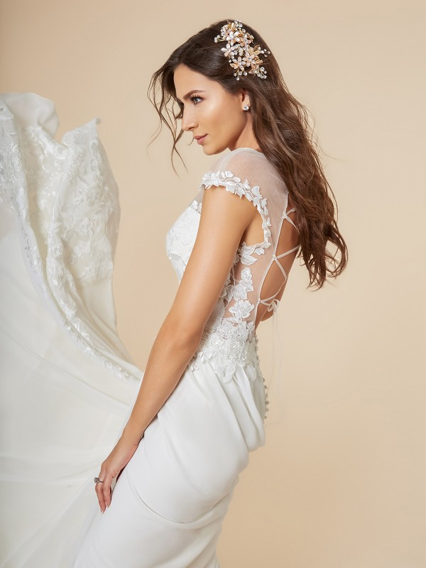 Moonlight Tango T846 sexy chiffon bridal gown with illusion cap sleeves and sexy lace-up back