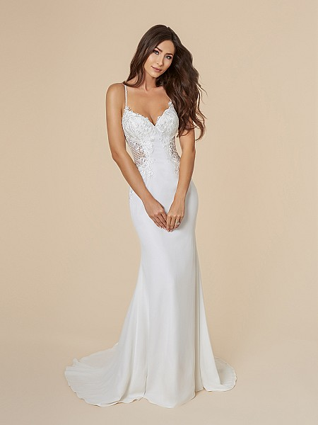 Moonlight Tango T847 sexy mermaid bridal gown in ivory crepe back satin and lattice net with sweetheart neckline