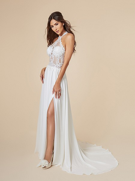 Moonlight Tango T848 see-through net and lace halter bodice with chiffon A-line bridal dress with high front slit