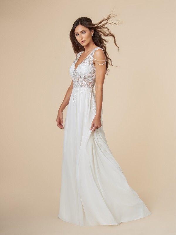 Moonlight Tango T849 ivory lace and chiffon A-line bridal gown with see-through deep V-neck bodice