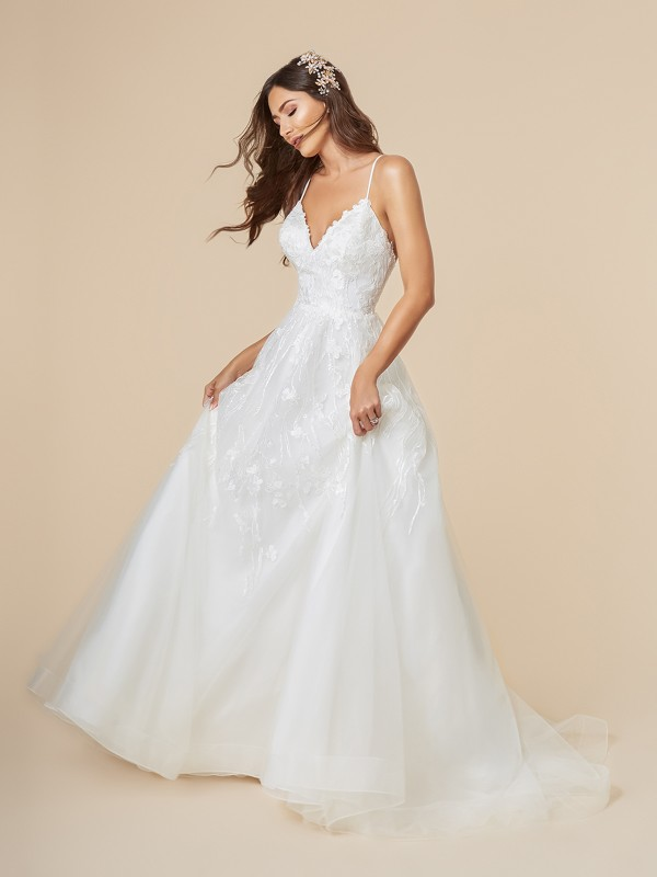 Moonlight Tango T850 destination bridal ball gown with V-neck and thin straps with horsehair trim hem