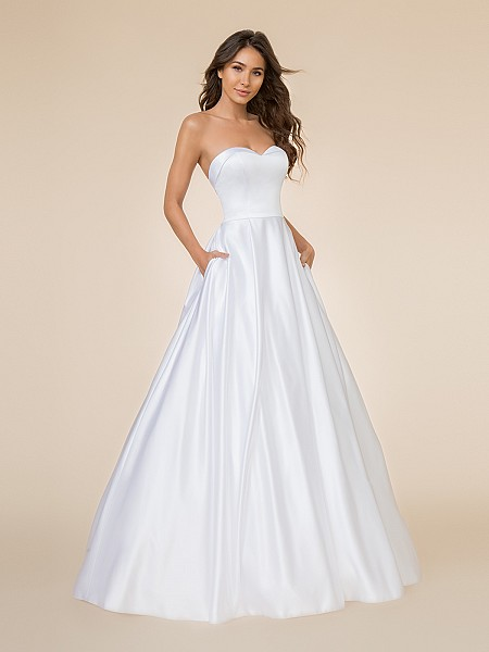 Moonlight Tango T861 classy strapless satin A-line with sweetheart neckline and side pockets at skirt