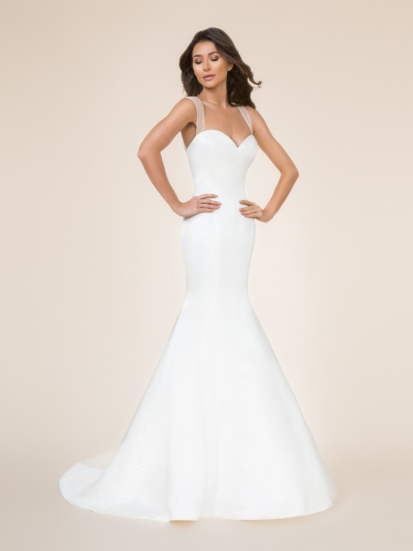 Moonlight Tango T862 figure-flattering satin mermaid bridal gown with sweetheart neckline