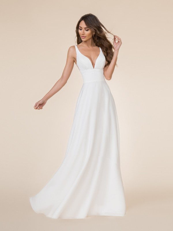 Moonlight Tango T864 simple and elegant deep V-neck crepe back satin A-line bridal gown