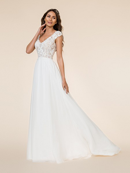 Moonlight Tango T865 re-embroidered lace appliques over unlined bodice A-line bridal gown with deep V-neck
