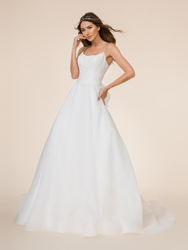 Moonlight Tango T866 voluminous organza full A-line bridal gown with scoop neck and re-embroidered lace appliques
