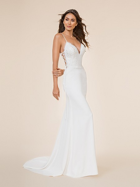 Moonlight Tango T867 soft and delicate crepe back satin mermaid gown with deep V-neck and lace-up side bodice