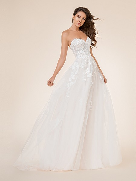 Moonlight Tango T868 strapless unlined sweetheart A-line bridal gown with lace appliques over lace fabric