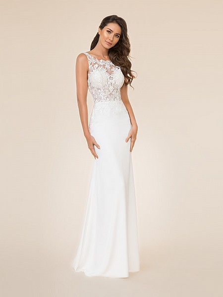 Moonlight Tango T869 unlined bateau illusion neck fitted bodice with crepe back satin mermaid bridal gown