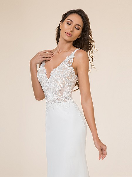 Moonlight Tango T871 sexy sleeveless deep V-neck unlined bodice with lace appliques and crepe back satin skirt