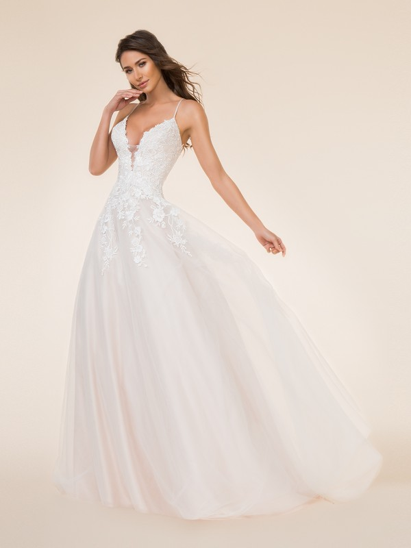 Moonlight Tango T872 elegant lace appliques over tulle full A-line bridal gown with deep V-neck and thin straps