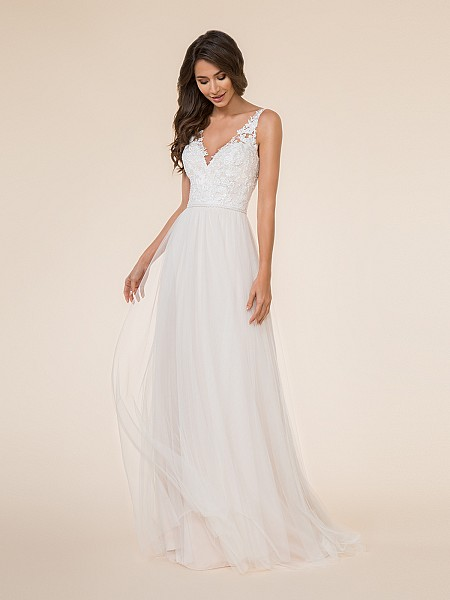 Moonlight Tango T873 bohemian soft net V-neck bridal gown with re-embroidered lace appliques and simple beading